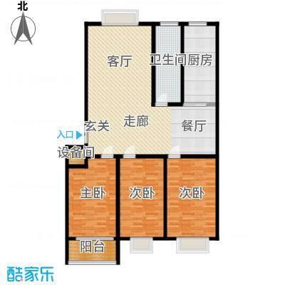 东城新华风景135.37㎡二期 7#户型 三室两厅一卫户型3室2厅1卫