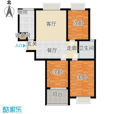 东城新华风景111.37㎡二期 1# 户型 三室一厅一卫户型3室1厅1卫