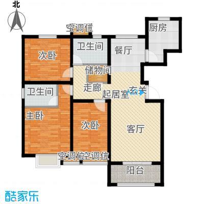昊和沁园181920#楼房型底图户型3室2卫1厨