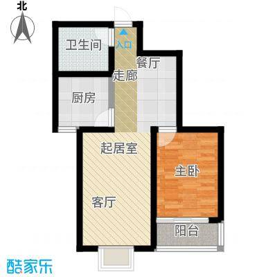 万华城一室两厅一卫 69.42m²户型1室2厅1卫
