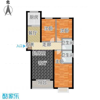 天鸿尚都三室两厅两卫 132.4㎡户型3室2厅2卫