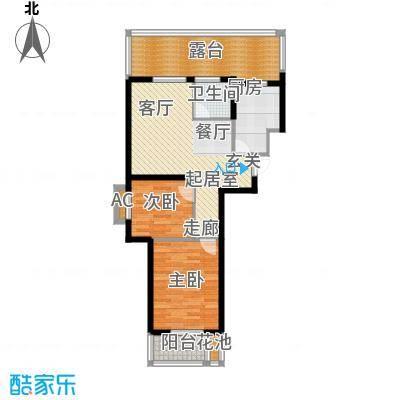 香缇公馆79.00㎡二室二厅一卫户型2室2厅1卫