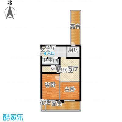 香缇公馆68.00㎡二室二厅一卫户型2室2厅1卫