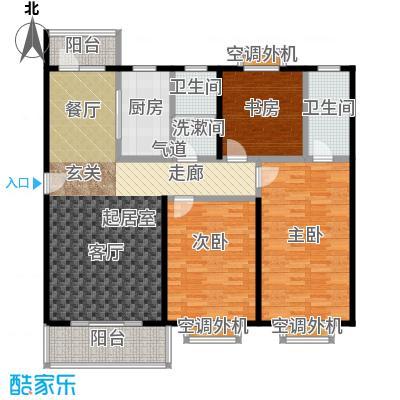 自然居家园三室两厅两卫125平户型