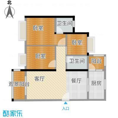 天马河壹号101.00㎡三期御景楼组团B2/B40户型3室2厅2卫