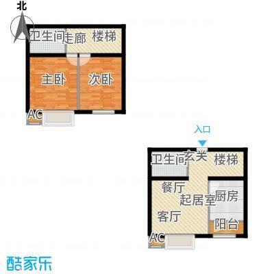 新城御景98.00㎡C3复式户型两室一厅两卫户型2室1厅2卫