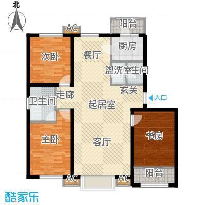 新城御景128.00㎡D户型三室两厅两卫户型3室2厅2卫