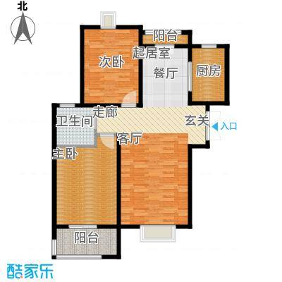 中登悦园95.21㎡6#楼A户型2室2厅1卫户型2室2厅1卫