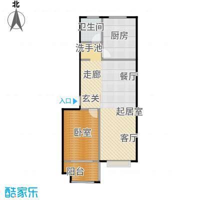 水岸名居70.73㎡3号楼2单元东户型 1室2厅1卫户型1室2厅1卫