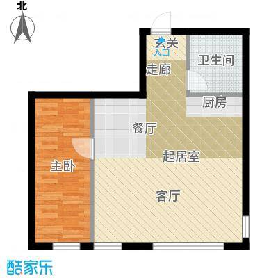 星河国阅公馆Room C 一室两厅一卫 参考使用面积57.38平米户型1室2厅1卫