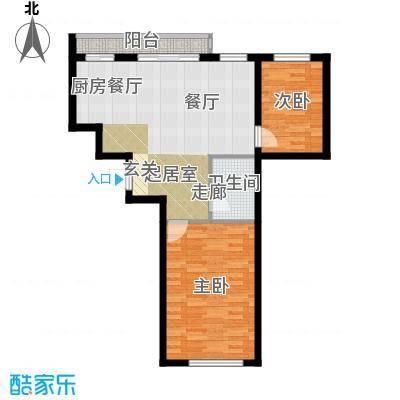 星河国阅公馆Room F 两室两厅一卫 参考使用面积71.79平米户型2室2厅1卫