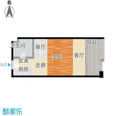 华庭锦绣苑61.72㎡单身公寓户型1室S