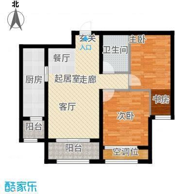 天玺香颂92.36㎡17号楼两室两厅一卫B1户型2室2厅1卫