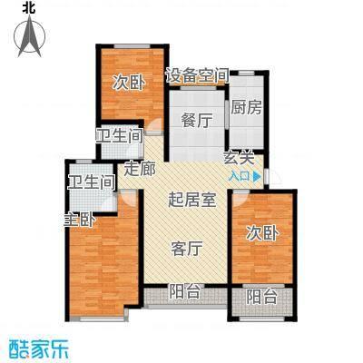 翡翠华府三室两厅两卫 123.12m²户型3室2厅2卫