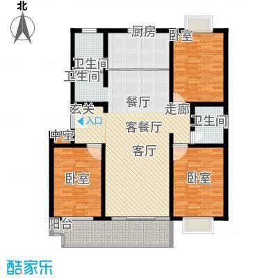 祥瑞家园143.91㎡E 户型 三室两厅两卫户型3室2厅2卫