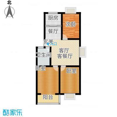 祥瑞家园95.00㎡D 型 三室两厅一卫户型3室2厅1卫
