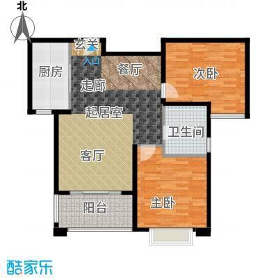 名士豪庭91.00㎡二室二厅二卫92平方米户型