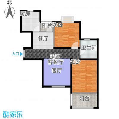 名士豪庭91.00㎡二室二厅一卫93平方米户型