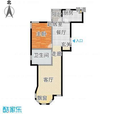 世茂威廉公馆82.00㎡一室两厅明卫 建筑面积 82平户型