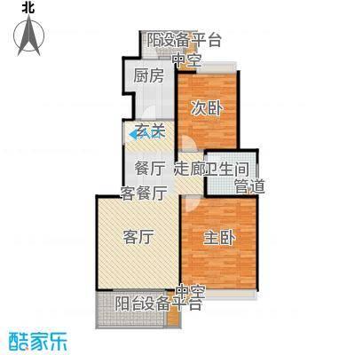保利家园88.00㎡C户型二房二厅一卫户型2室2厅1卫