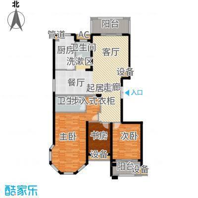 麒麟公馆163.00㎡A1户型 三室两厅两卫户型3室2厅2卫