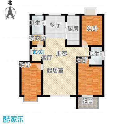 金江华城117.80㎡三室两厅两卫户型3室2厅2卫