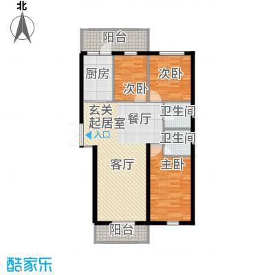 北岸七英里95.54㎡三居一厅使用面积95.54平方米户型3室1厅2卫