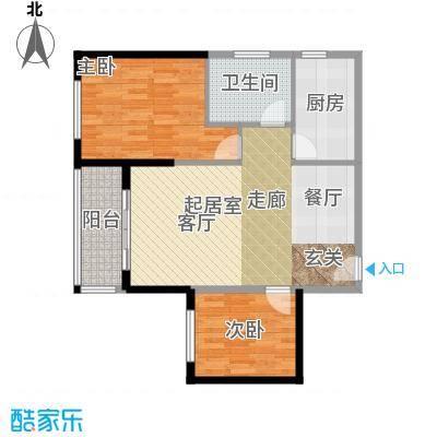 金色港湾101.00㎡2#8号房 两房两厅一卫户型2室2厅1卫