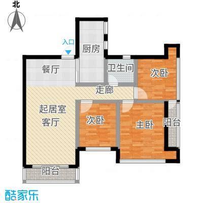 三亚孔雀城96.00㎡E户型3室1厅1卫