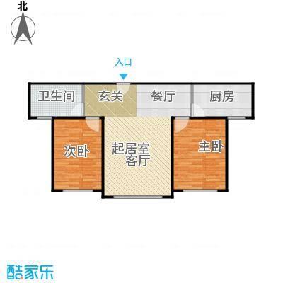 中科蓝湾国际4、6#B单元,一房一厅一卫,面积约75.38㎡户型