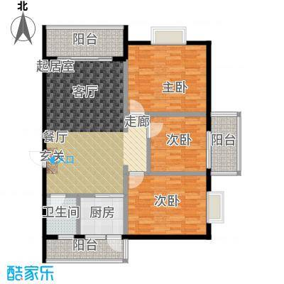 金星阳光格林108.06㎡B户型3室2厅1卫