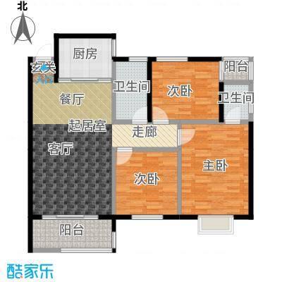 金星阳光格林107.56㎡C户型3室2厅2卫