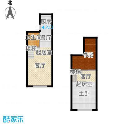上品公馆49.00㎡45-49平米户型图户型2室2厅1卫