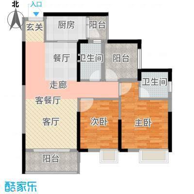 美誉紫薇花园88.00㎡2座A户型2室1厅2卫1厨