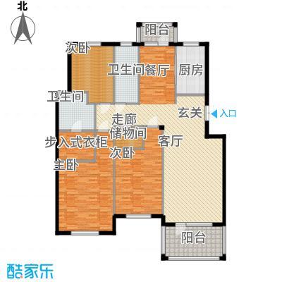 鲁能东方优山美地169.83㎡二期洋房 I户型 三室二厅二卫户型3室2厅2卫