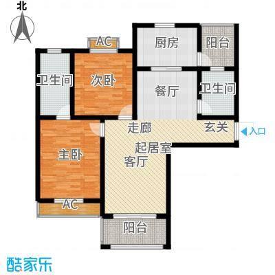 宝地名邸109.70㎡H户型2室2厅2卫