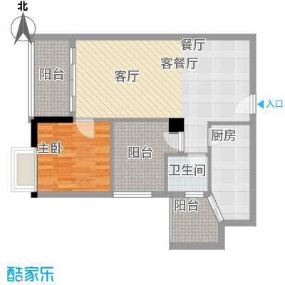 明福智富广场75.00㎡1座04单元户型1室1厅1卫1厨