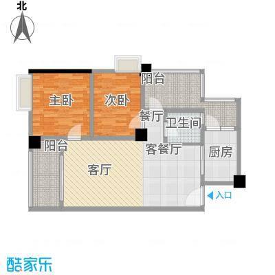 明福智富广场88.00㎡1座05单元户型2室1厅1卫1厨