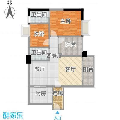 明福智富广场89.00㎡1座06单元户型2室1厅2卫1厨
