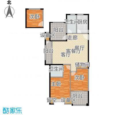路劲城市主场114.00㎡1#楼C2户型约114平米户型3室2厅2卫