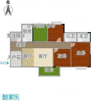 花香十二院113.00㎡银杏院013+户型3室1厨