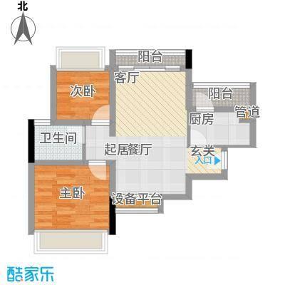 长虹百荟花园3、4栋C1(2房2厅)户型2室2厅1卫1厨 64.00㎡