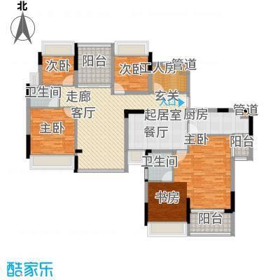 、长虹百荟花园1-2、14-18栋6+1双拼户型6室2厅2卫1厨 170.00㎡