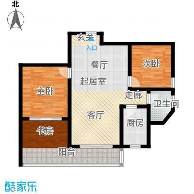 漓江蓝湾90.92㎡1#B户型(两房变三房)户型2室2厅1卫