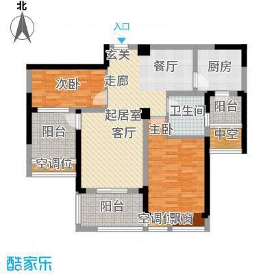 世茂香槟湖88.00㎡59#60#楼2室2厅1卫88平米户型2室2厅1卫