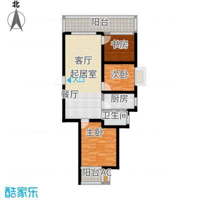 漓江蓝湾88.97㎡2#G户型(两房变三房)户型2室2厅1卫