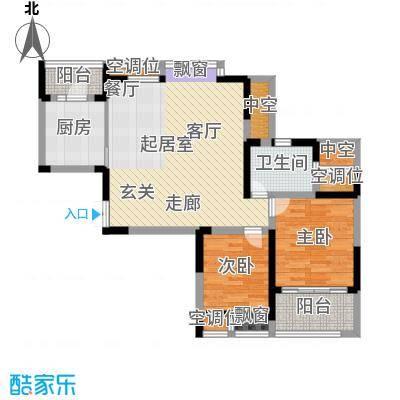 世茂香槟湖85.40㎡30#、31#、35#户型F两房两厅一卫户型2室2厅1卫