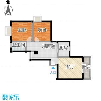 水岸新城90.61㎡15#B1户型2房2厅1卫户型2室2厅1卫