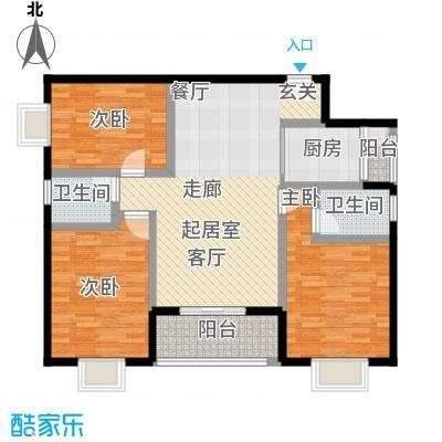水岸新城109.67㎡A4户型:3房2厅2卫户型