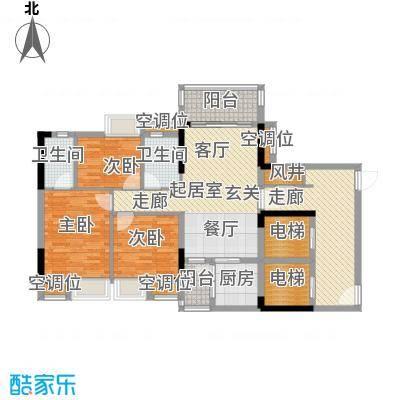 保利花园99.00㎡5号楼二梯04单元户型3室2厅2卫